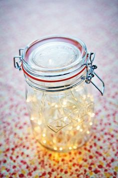 Battery operated fairy lights (from camping) in our (emptied) popcorn Kilner would be nice