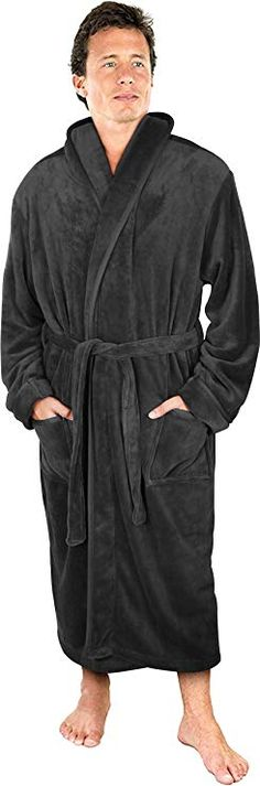 NY Threads Luxurious Men s Shawl Collar Fleece Bathrobe Spa Robe (Grey 75cad5a1c