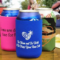 Soft, flexible neoprene pocket wedding koozies personalized with a design, bride and groom's name and wedding date will keep beer and soda ice cold throughout your wedding reception while providing useful wedding souvenirs. Flexible neoprene can koozies can be kept in a back pocket, purse, or jacket so they are always handy. These koozie favors can be ordered at http://myweddingreceptionideas.com/personalized_collapsible_can_koozies.asp