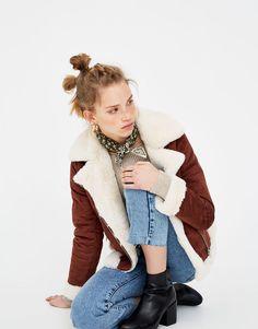 Pull&Bear - байкерская куртка из двустороннего материала - винный - 05713310-V2018