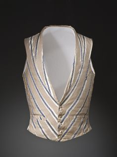 1840, England - Man's Vest with Removable Chest Pads - Vest: silk satin with supplementary weft-float patterning; pads: cotton twill with cotton wadding