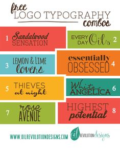 Free Logo Typography Combos  ~~ {16 free fonts w/ easy download links}