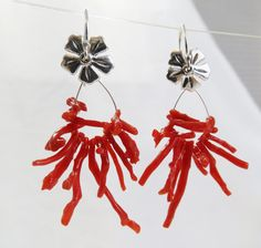 Red Branch Coral and Sterling Silver Rose Dangle Earrings - Rose of Sharon Collection by LoriDelisle on Etsy