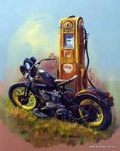 Dale Klee's print BARE BONES pictures a classic Harley Davidson motorcycle parked next to an old Shell Oil gasoline pump. Nostalgic reminder of the old days. Available in a signed and numbered limited edition with an unframed image size of 16 Harley Davidson Kunst, Classic Harley Davidson, Harley Davidson Chopper, Harley Davidson Street Glide, Harley Davidson Motorcycles, Hd Vintage, Vintage Bikes, Vintage Motorcycles, Motorcycle Art