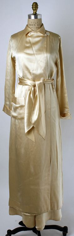 Pajamas  Date: 1932–33 Culture: American Medium: silk Dimensions: Length at CB (a): 52 in. (132.1 cm) (b) (no dimensions available) Total Length (c): 41 1/2 in. (105.4 cm)