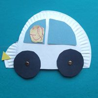 paper plate car, blue construction paper, yellow scraps, black construction paper, brads