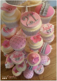 Pink and silver 21st birthday cupcake tower.