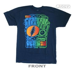 Grateful Dead t-shirt with artwork inspired by their famous Wall of Sound. The Wall of Sound was the largest concert sound system of its time. Printed on a blue 100% cotton t-shirt.