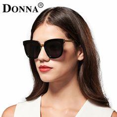 Donna Women Sunglasses Polarized Cat Eye Cateye Oversize Brand Designer Metal Frame Sun glasses Coating Mirror oculos gafas D20