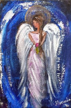 I can do everything 4 x 6 original small angel by Florinda on Etsy