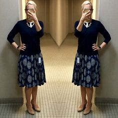 Outfit post: navy cardigan, mosaic full skirt, nude wedges http://outfitposts.com/2017/08/outfit-post-navy-cardigan-mosaic-full-skirt-nude-wedges.html?utm_campaign=coschedule&utm_source=pinterest&utm_medium=Outfit%20Posts&utm_content=Outfit%20post%3A%20navy%20cardigan%2C%20mosaic%20full%20skirt%2C%20nude%20wedges