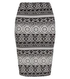 Inspire Grey Black and White Aztec Midi Tube Skirt