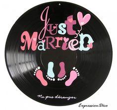 Plaque de porte en disque vinyle 33 tours mariage