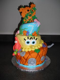 Sponge bob Cake- my little cousin would LOVE this