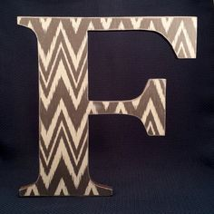 """Letter F,12"""" Wood Letter Wall Decor, Ikat print, Decoupaged and Painted ...............Free US Shipping"""