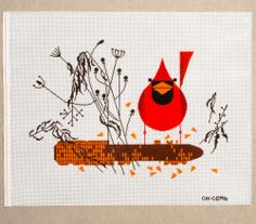 "Charley Harper -Cardinal on the Corn  CH-C096 from Treglown Designs: 13:1 mesh needlepoint handpainted canvas of Charley Harper's beloved print. 19 x 13"" NEEDLEPOINT THREAD IS NOT INCLUDED $135.00"