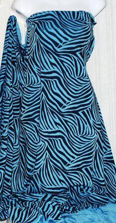 "Blue & Black Zebra Print Nylon Lycra Spandex Fabric~58"" W-4 Way Str~By the Yard"