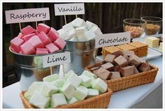 S'mores bar - love the flavored marshmallows @Krystle Hawkins you're doing an outdoor, Fall wedding - fire pits and s'mores?  Wouldn't that be fun?!!