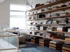 Elfa Bookshelves Design Ideas with the window