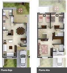 Imagem relacionada #modelosdecasassobrado House Layouts, Duplex House Plans, 3d House Plans, Modern House Plans, Dream House Plans, Small House Plans, Home Projects, Two Storey House Plans, Casa Duplex
