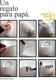 Regalo para padres en el Día del Padre, DIY Cinta Washi Tape, Origami, Projects To Try, Diy, Education, Tableware, Parents, School, Ideas
