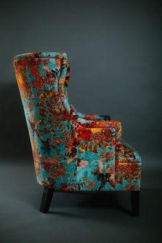 Handcrafted in Edinburgh Scotland Funky Furniture, Contemporary Furniture, Painted Furniture, Furniture Design, Denim Furniture, Chair Upholstery, Wingback Chair, Upholstered Chairs, Vintage Chairs