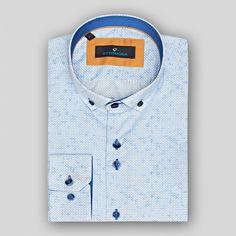 Geometrik baskılı mavi renk erkek gömlek