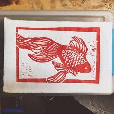 Linoleum block print from tonight's #printmaking workshop at the Craft and Folk Art Museum.
