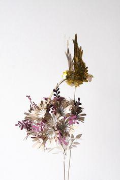 Paper Bird an flowers by 3D paper artist Diana Beltran Herrera.