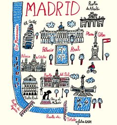Julia Gash captures the Spanish capital in all its grandeur in her map like illustration that is both charming and elegant. Little fish swim down river in the Rio Manzanares, which frames Madrid to the west and south and over. Madrid City, Foto Madrid, Madrid Spain Map, Madrid Espana, Travel Maps, Travel Posters, All The Bright Places, Madrid Travel, Europe On A Budget