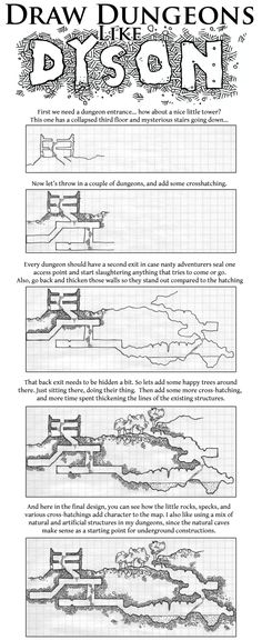 Draw Dungeons Like Dyson | Create your own roleplaying game books w/ RPG Bard: www.rpgbard.com | Pathfinder PFRPG Dungeons and Dragons ADND DND OGL d20 OSR OSRIC Warhammer 40000 40k Fantasy Roleplay WFRP Star Wars Exalted World of Darkness Dragon Age Iron Kingdoms Fate Core System Savage Worlds Shadowrun Dungeon Crawl Classics DCC Call of Cthulhu CoC Basic Role Playing BRP Traveller Battletech The One Ring TOR fantasy science fiction horror