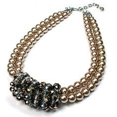Champagne faux Pearl & Glass Bead Choker