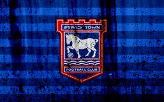 Download wallpapers 4k, FC Ipswich Town, grunge, EFL Championship, art, soccer, football club, England, Ipswich Town, logo, stone texture, Ipswich Town FC