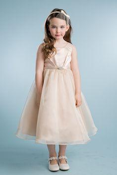 30f8288511d64 Beautiful satin Overlay Flower Girl Dress with Satin Top. Tea length Center  back zipper.