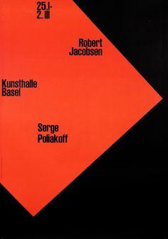Robert Jacobsen, Serge Poliakoff - Kunsthalle Basel by Armin Hofmann (1959)   Shop original vintage posters online: www.internationalposter.com