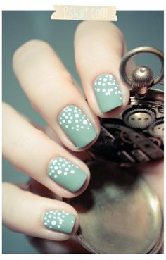 Light turquoise nails with white dots