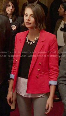 Thea's red double-breasted blazer on Arrow.  Outfit Details: http://wornontv.net/52766/ #Arrow