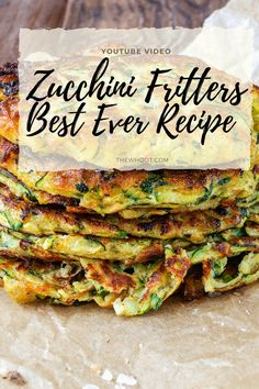 This Zucchini Fritters Recipe is a taste sensation. They are gluten free and this is the best ever way to achieve crispy results. Vegetable Dishes, Vegetable Recipes, Vegetarian Recipes, Cooking Recipes, Best Zucchini Recipes, Diet Recipes, Zuchinni Fritters, Healthy Zucchini Fritters, Moussaka Recipe