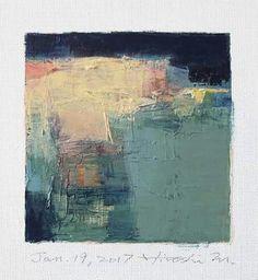 "Jan. 19, 2017 9 cm x 9 cm (app. 4"" x 4"") oil on canvas  © 2017 Hiroshi Matsumoto"