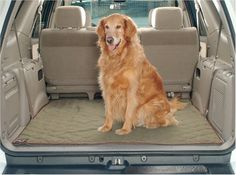 """Deluxe SUV Cargo Liner – Petiquette Dogs - Let your pet ride in luxury and style! The Solvit Deluxe SUV Cargo Liner is made from the same SOLViTEX material as our pet seat covers, a 100% heavy cotton twill material that is soft to the touch yet wears like iron. Its padded & quilted construction provides extra comfort for pets while traveling. Multiple hook & loop fasteners on the underside keep the Liner firmly in place.  """"Like"""" or """"Pin"""" this and receive a 5% discount code."""