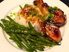 Sweet and Spicy Honey Sriracha Chicken with Jasmine Rice & Sesame, Soy Green Beans
