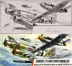 """Roy's intense, condensed views of air combat stayed with us"" KB Bear Alley: Roy Cross and his Airfix Dogfight Doubles Airfix Models, Airfix Kits, Cross Art, Hobby Toys, Commercial Art, Aviation Art, Plastic Model Kits, Art Model, Military Art"