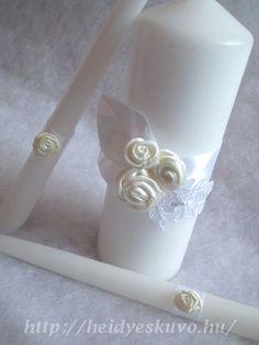 Emília szatén rózsás, csipkés ceremónia gyertyaszett esküvőre Napkin Rings, Napkin Holders
