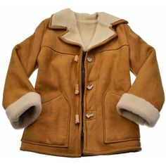Dlux Chocolate Brown Sheepskin Car Coat (€1.665) ❤ liked on