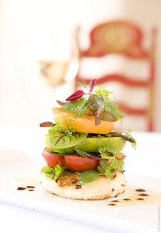 A creatively arranged heirloom tomato salad from La Plazuela restaurant at La Fonda on the Plaza, Santa Fe.