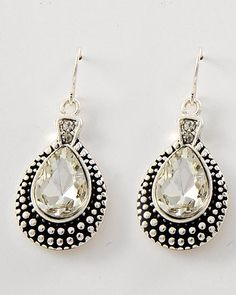 Marcasite Look Teardrop Rhinestone Earrings