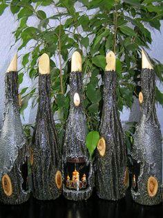 Коллекция вин в бутылках, декорированных под кору: steklo_v_kore Bottle Crafts, Screens, Reuse, Glass, Art, Decorated Bottles, Painted Bottles, Beautiful Things, Nice