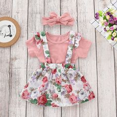 08c968b0d207 Newborn Baby Girl Clothes Romper Solid Tops+Dress Belt Skirts 3Pcs Outfits  Set  Unbranded
