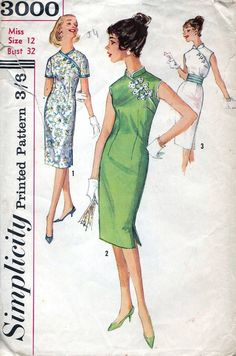 50s Simplicity sewing pattern 3000, sleeveless or short sleeve dress sewing patterns with mandarin collar, bust 32 inches, Chinese style