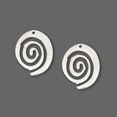Drop, sterling silver, spiral, hole at top, 17x14mm. Pkg of 2.